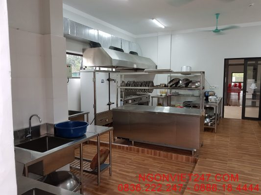 Gian bếp khi đã hoàn thành và lắp đặt thiết bị