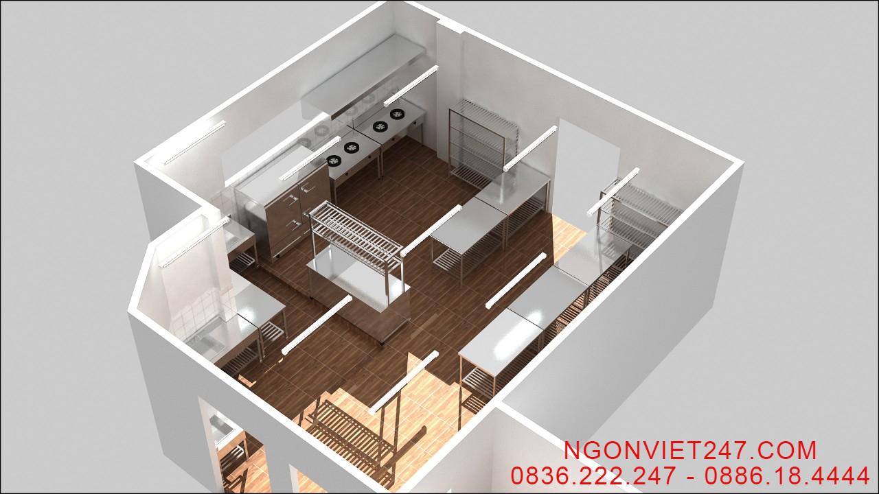 Bản vẽ 3D khu bếp ăn